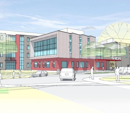 An artist's rendering of a new middle-high school to be built in Saugus.