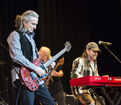 Brian Maes on the keyboard with guitarist Barry Goudreau in concert at Lynn City Hall auditorium.
