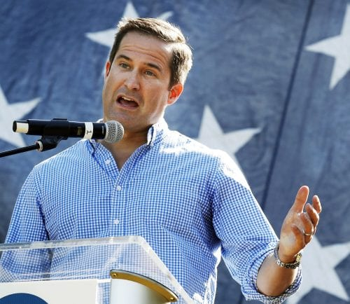 FILE - In this Sept. 30, 2017 file photo, U.S. Rep. Seth Moulton, D-Mass., speaks during the Polk County Democrats Steak Fry in Des Moines, Iowa. After serving four tours of duty in Iraq and ousting a sitting member of Congress, Moulton has set out a new challenge: helping usher in a new, younger Democratic leadership to a party striving to regain political power. (AP Photo/Charlie Neibergall, File)