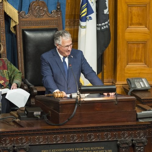 Lynn Mayor Thomas M. McGee delivers his farewell speech to the Massachusetts Senate at the State House on Thursday.