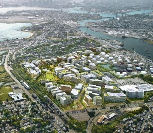 Developer Tom O'Brien offered Revere officials a vision of redevelopment for the Suffolk Downs site. The rendering shows the site looking toward East Boston.