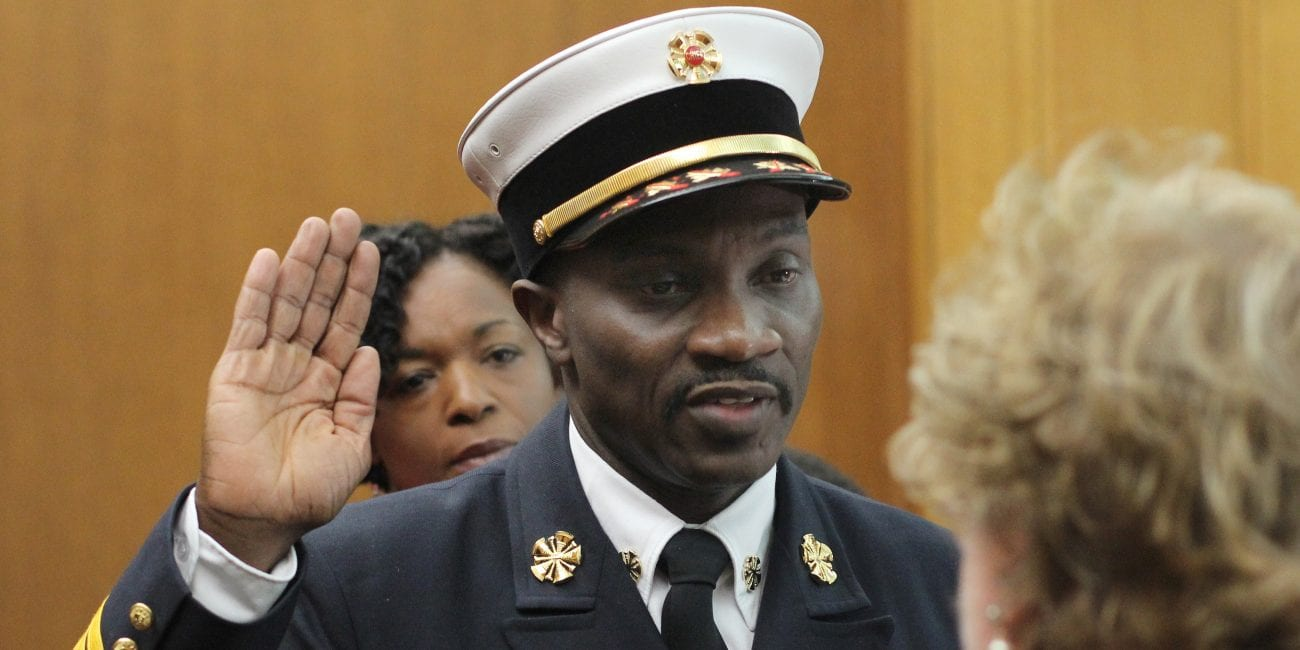 Lynn, Ma. 2-13-18. Stephen Archer was sworn in as Lynn Fire Chief by Janet Rowe in the City Council Chambers.