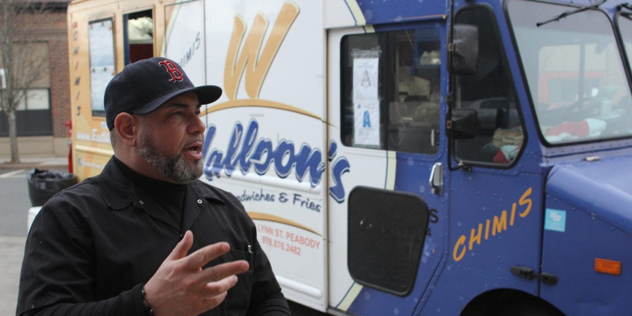 Nelson Sanchez opens his food truck on Mt Vernon Street in Lynn.