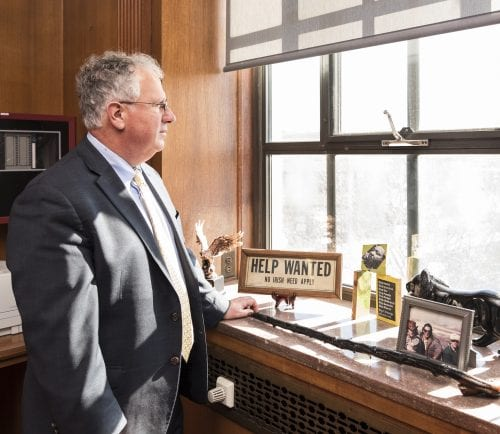 Lynn Mayor Thomas M. McGee looks out on this city from his office.