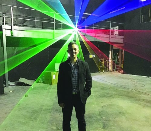 Highly-acclaimed lighting designer Joey Nicotera of Peabody is installing the lighting in the Black Box Theater.