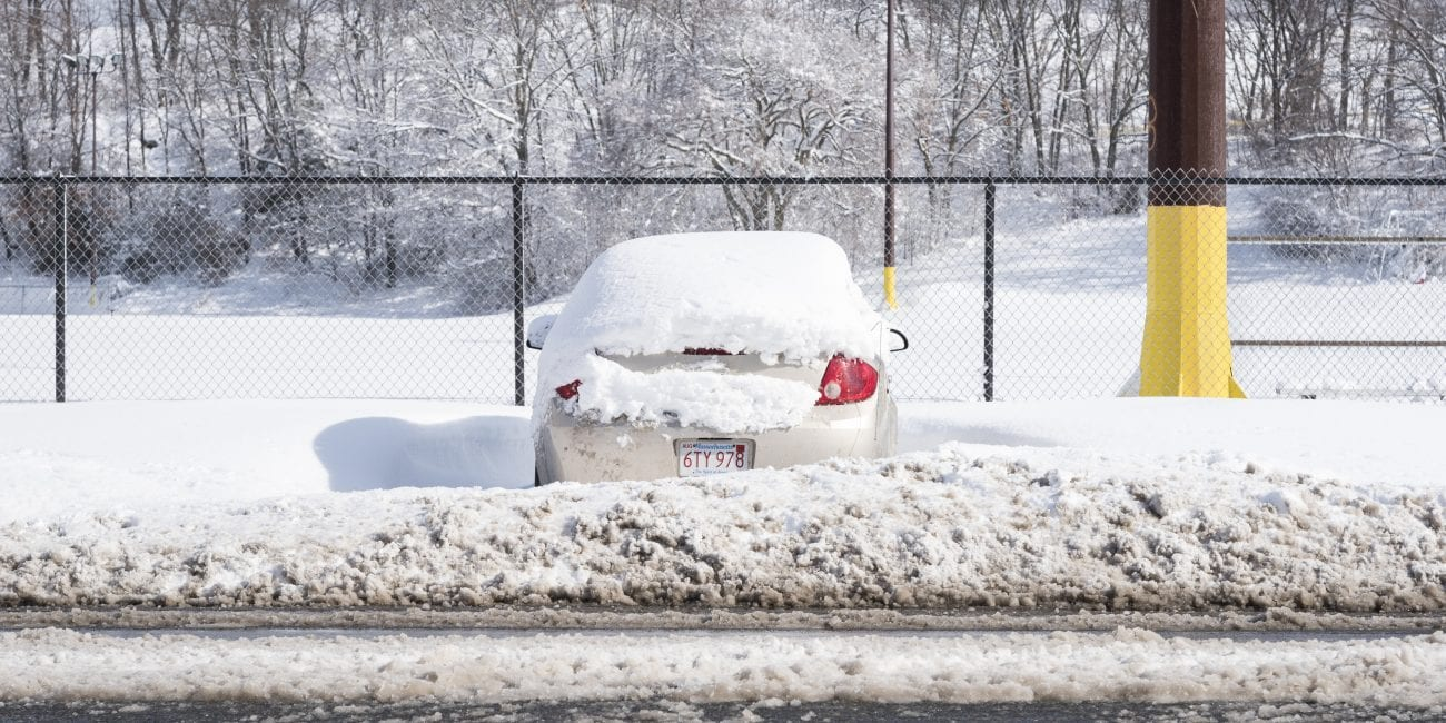 LYNN 3.14.2018 -- A car is snowed in front of Frey Park on Walnut Street in Lynn the day after the Blizzard of 2018