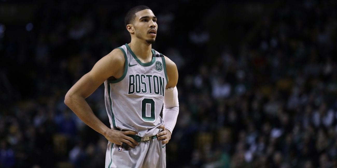 Boston Celtics forward Jayson Tatum (0) during the second half of an NBA basketball game in Boston, Monday, Feb. 26, 2018. The Celtics defeated the Grizzlies 109-96. (AP Photo/Charles Krupa)