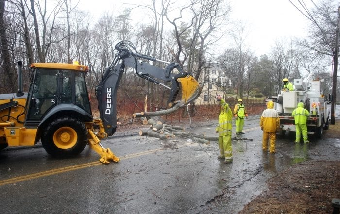 Marblehead, MA--Friday March 2, 2018--Work crew removes tree branches on Beacon St. from a tree that was down due to the storm.