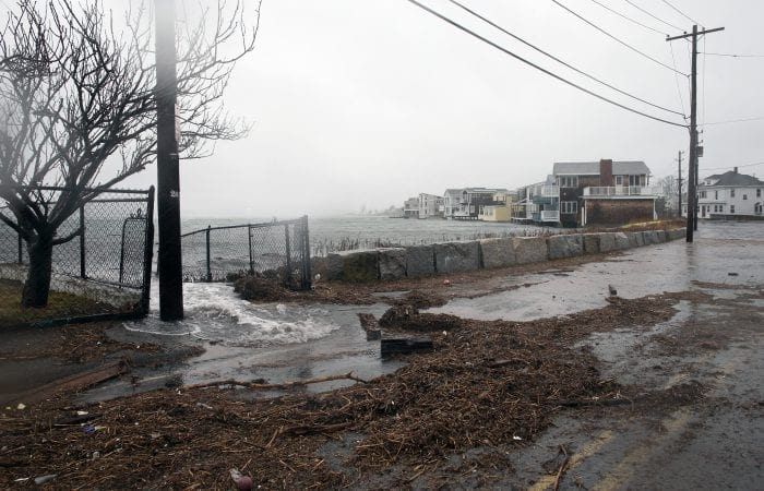 Nahant, MA--Friday March 2, 2018--Section of Castle Road was closed during high tide as water spilled onto the street.
