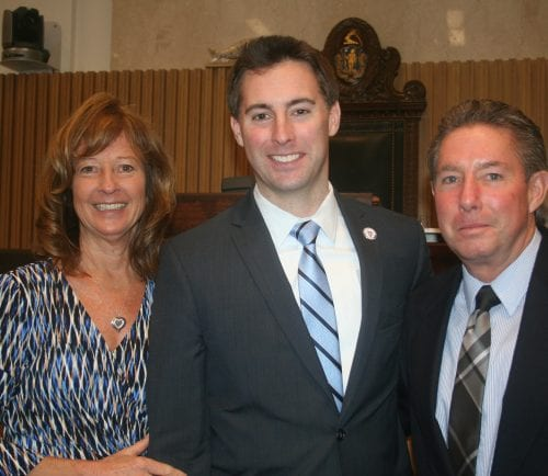 Sen. Brendan Crighton at the State House with his parents after he was sworn in as senator for the Third Essex District. From left to right, Diane, Brendan, and Kevin Crighton.