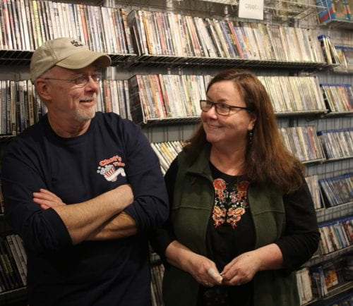 Marblehead. Ma 3-1-18. Chet Strout and Carrie Thomas in Chet's Video and Candy Shoppe which will be closing after 25 years.