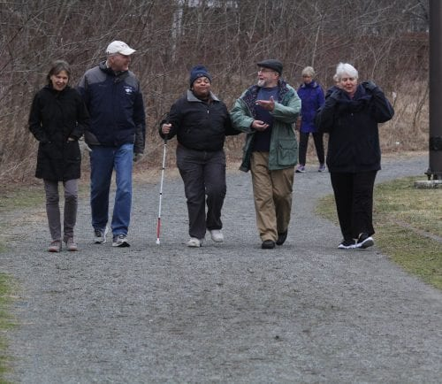 Peabody, Ma. 3-30-18. Lynn Mcakinson, Bill Mackinson, Delis Etienne, Bob Cavanaugh and Joy Morris walking for Haiti at the Peabody Senior Center.