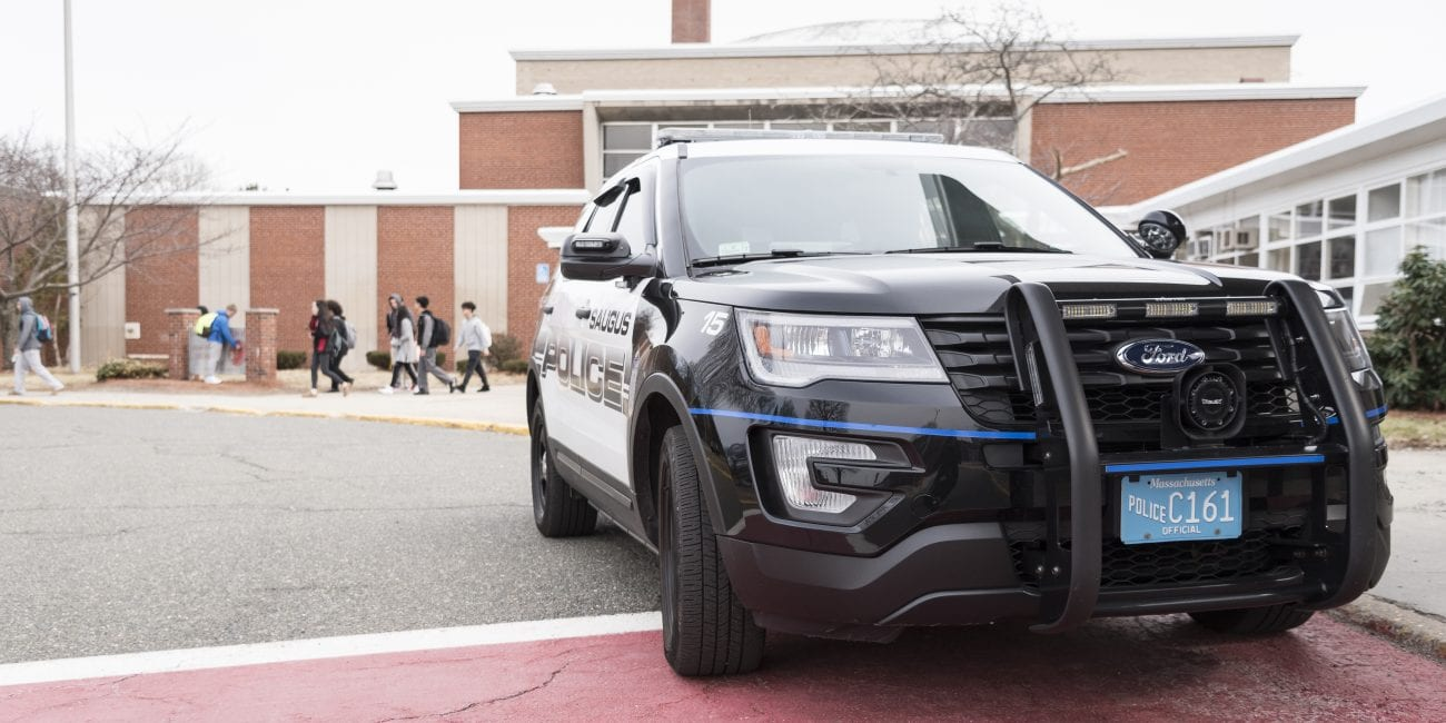 The Saugus Police Department was present as the high school let out on Thursday following a written threat that was found Wednesday evening.