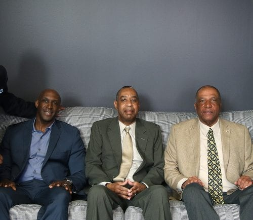 From left, Ed Thurman, Emerson Foster, David McCoy, Buzzy Barton, and Cheryl Charles, news editor, Daily Item. Photo by Mark Lorenz.