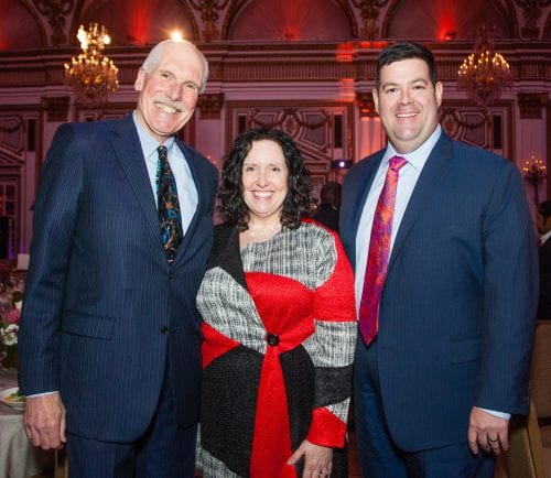 Mark Kennard, former director of community services at Bridgewell accepts the Visionary Leadership Award at Bridgewell's 2018 Imagine the Possibilities gala alongside Robin Sutherland, chair of Bridgewell's board of directors and former state Rep. Steven Walsh, president and CEO of Massachusetts Health & Hospital Association.