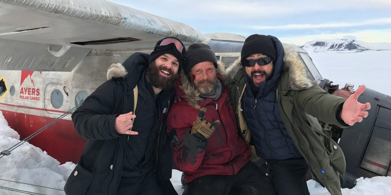 Ryan Morrison, the film's star actor Mads Mikkelsen, and director Joe Penna on set of 'Arctic' in Iceland.