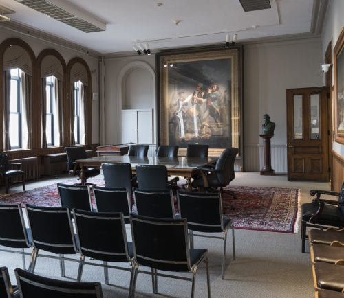 The Selectmen's Room at Abbott Hall in Marblehead has undergone a renovation, with re-arranged artwork and floor plan, as well as a fresh coat of paint, refurbished rug, and other details.