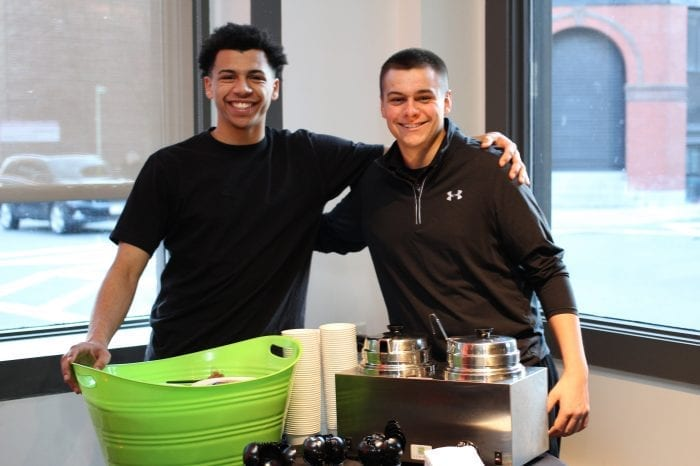 Lynn, Ma. 4-5-18. Marcus Taylor, left, and Jake Valeri from Old Tyme Italian Restaurant were on hand at the Beyond Walls kick off