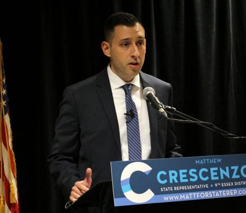Saugus, Ma. 4-12-18. Matt Crescenzo announces his candidacy for the 9th Essex District at a press conference held at the Elks Lodge in Saugus.