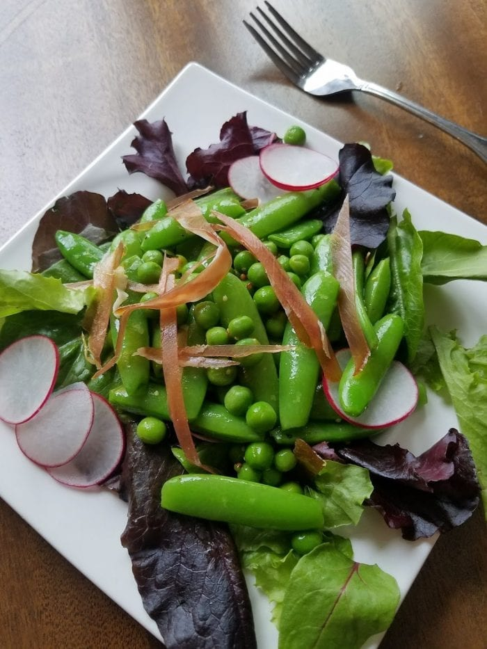 Pea and prosciutto salad.
