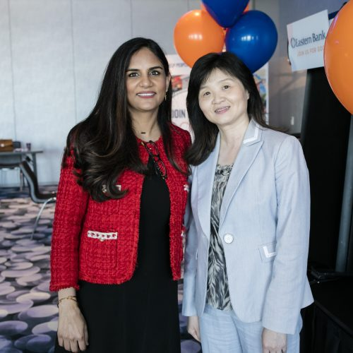 Sujata Yadav and Yongmei Chen attend the Eastern Bank event celebrating Asian-American women in business and public service in Massachusetts.