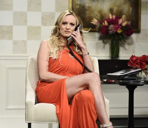 "This image released by NBC shows adult film actress Stormy Daniels during an appearance on ""Saturday Night Live"" in New York on Saturday, May 5, 2018."