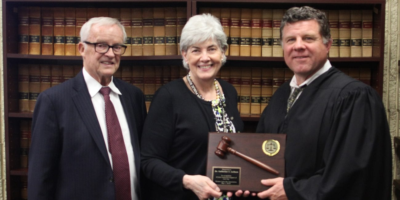 Lynn,Ma. 5-7-18. Attorney Jim Carrigan, Superintendent of Lynn Schools Dr. Catherine C. Latham and Judge Matthew Nestor present Latham with a thank you gavel for her support of Law Day for the past ten years. The gavel is from the Greater Lynn Bar Association.