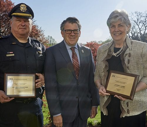 Honorees Chief James A. DiGianvittorio, Middleton Police Department, and Lynn School Superintendent Dr. Catherine C. Latham, with ADL New England Regional Director Robert Trestan.
