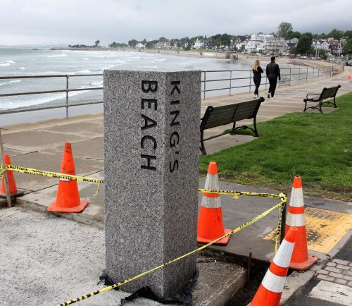 A new marble pillar identifying King's Beach is part of a redesign along the waterfront.
