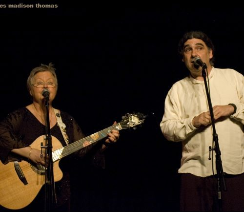 Christine Lavin and Don White perform at the me&thee coffeehouse in Marblehead on Friday.