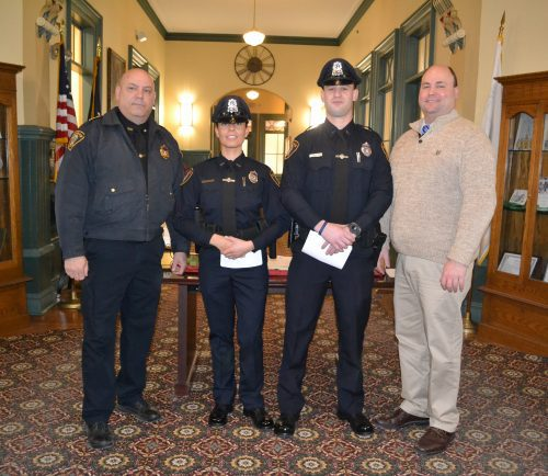 From left: Interim Police Chief Ronald Giorgetti, Officer Jenna Loverme, Officer Vince Johnston, and Town Manager Scott Crabtree.