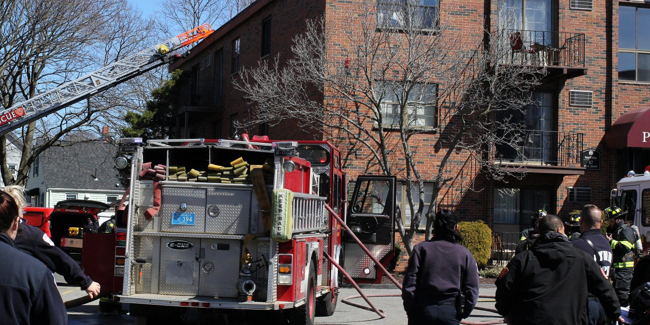 Lynn, Ma. 3-25-19. A fire broke out on the second floor rear indoors at the North Bay Apartment at 87 Park Street in Lynn.