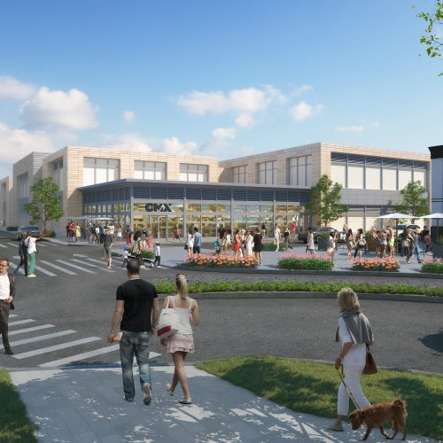 An artist rendering of the eight-screen cinema proposed for MarketStreet's open air mall off Route 128.