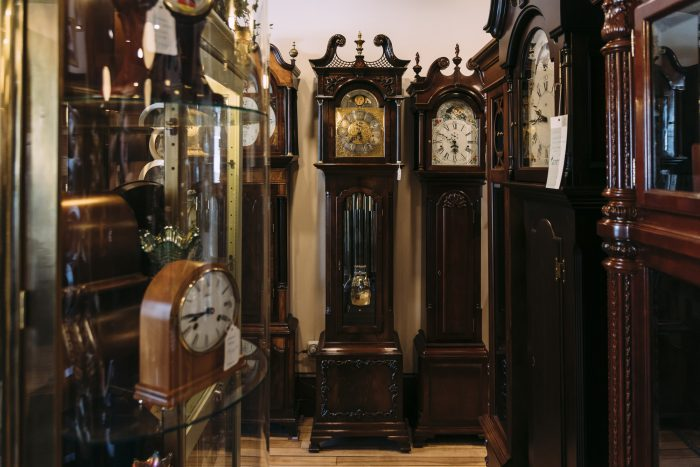Grandfather clocks on display at Phillips' Clock Shop.
