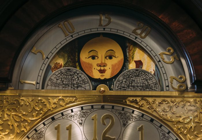The lunar calendar on a grandfather clock at Phillips' Clock Shop.