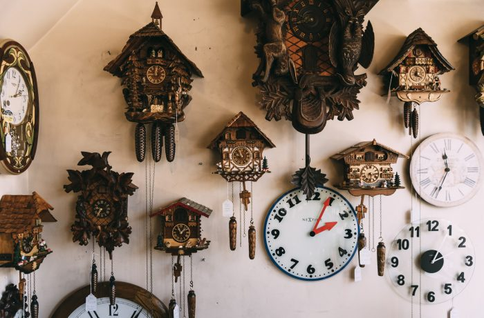 A wall in Phillips' Clock Shop is dominated by cuckoo clocks.