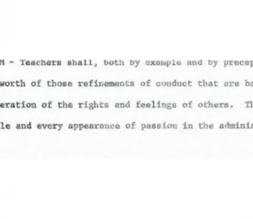 A snippet of the 1978 Rules of the School Commitee's policy on sarcasm.