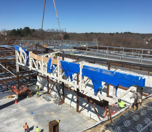 The construction team behind the new Saugus Middle-High School finished installing trusses to build the school's gymnasium Monday afternoon. The first truss was installed by PMA Consultants on March 26.