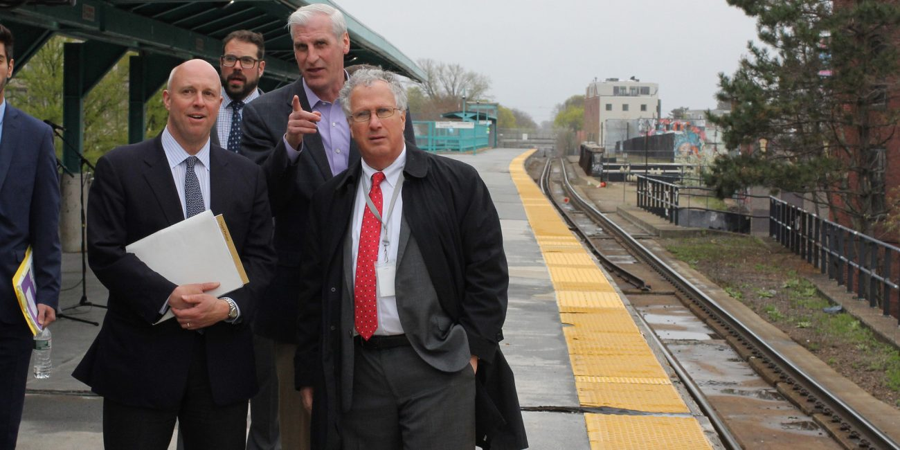 Lynn, Ma. 4-26-19. Joe Mulligan and Mayor Thomas McGee giving Secretary of the Executive Office of Housing and Economic Development Mike Kennealy a tour of Lynn that included the train platform.