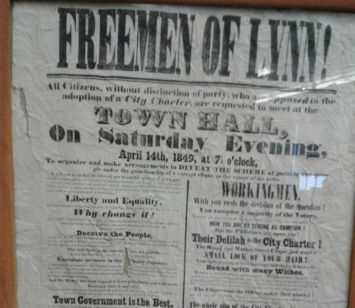 A 170-year-old poster that served as a call-to-action against the city government's choice to transition from township to city.