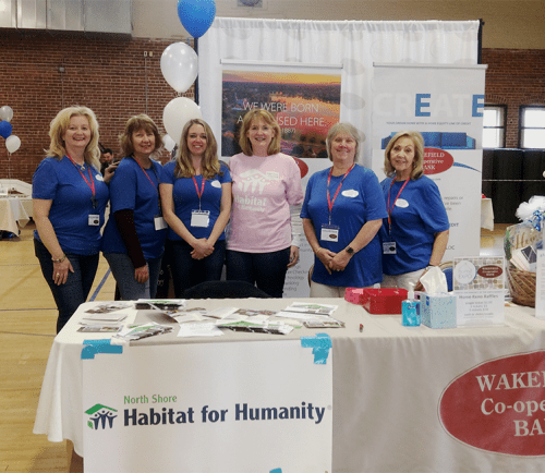 From left to right, Elaine Manfredi, Elaine Foley, Jennie Terry, Joanne McMath, Lois Hayward, and Elaine Guaetta at the Wakefield Co-operative Bank Expo.