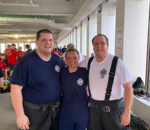 From left, Firefighters Sean Carritte and Merissa Titus and Chief Michael Feinberg represented the Nahant Fire Department in the Fight for Air Climb last weekend, along with Firefighter Robert Tibbo (not pictured)