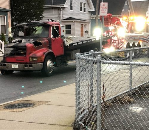 The remains of a tow truck from Bill Woods Towing Service following Thursday morning's arson.
