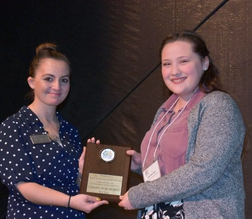 2019 scholarship winner Leigha-Mae Hubisz with Chamber Board Member Taylor Sparkas.